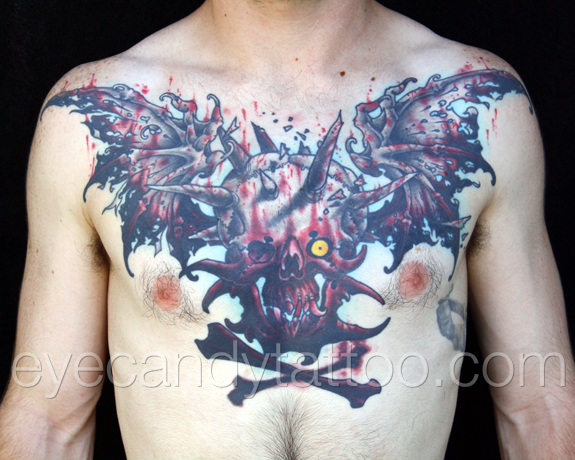 Bloody Skull with bat wings chest tattoo, new orleans tattoo, randy muller, eyecandy, icandytattoo, i candy, eye candy,