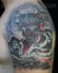 Satanic Devil stealing Souls tattoo, new orleans tattoo, randy muller, eyecandy, icandytattoo, i candy, eye candy,