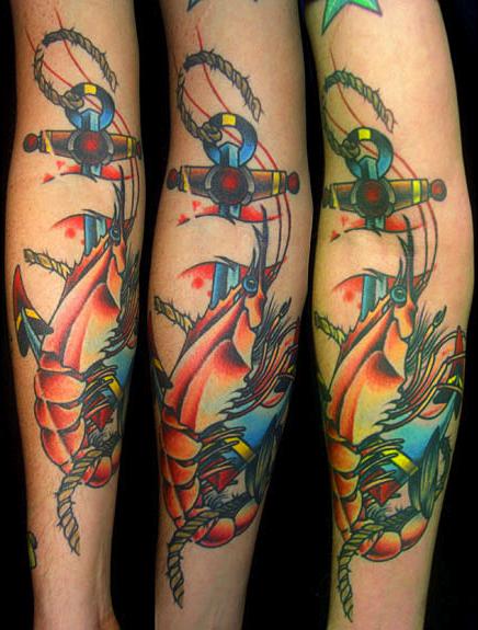 shrimp, anchor, new orleans tattoo, randy muller, eyecandy, icandytattoo, i candy, eye candy,