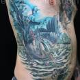Heron and Catfish tattoo,new orleans tattoo, randy muller, eyecandy, icandytattoo, i candy, eye candy,