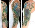feminine peacock sleve tattoo,new orleans tattoo, randy muller, eyecandy, icandytattoo, i candy, eye candy,