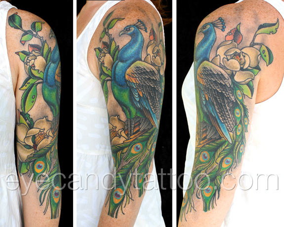 feminine peacock sleve tattoo,new orleans tattoo, randy muller, eyecandy, icandytattoo, i candy, eye candy,