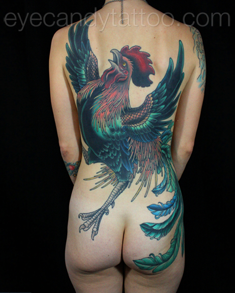 rooster feminine backpiece tattoo,new orleans tattoo, randy muller, eyecandy, icandytattoo, i candy, eye candy,