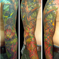 montana tattoo Fireweed, Bitterroot, Ponderosa Pine and Meadowlarks. new orleans tattoo, randy muller, eyecandy, icandytattoo, i candy, eye candy,