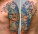 Blue Koi fish cherry blossom sleeve tattoo,new orleans tattoo, randy muller, eyecandy, icandytattoo, i candy, eye candy,