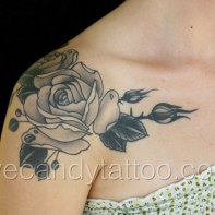 Black and grey rose tattoo,new orleans tattoo, randy muller, eyecandy, icandytattoo, i candy, eye candy,