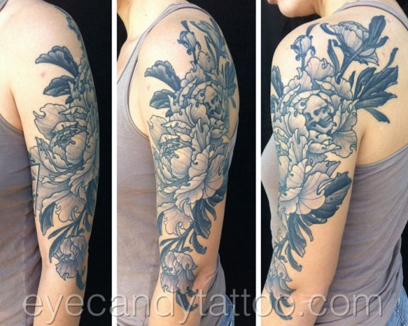 asian japanese Peony flowers and a skull,new orleans tattoo, randy muller, eyecandy, icandytattoo, i candy, eye candy,