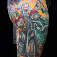 Moses parting the Red Sea on a Harley,new orleans tattoo, randy muller, eyecandy, icandytattoo, i candy, eye candy,