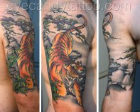Tiger asian japanese sleeve tattoo,new orleans tattoo, randy muller, eyecandy, icandytattoo, i candy, eye candy,