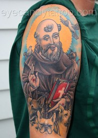 Saint Francis of Assisi tattoo dog an cat portraits,new orleans tattoo, randy muller, eyecandy, icandytattoo, i candy, eye candy,