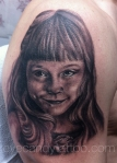 black and grey daughter kids portrait tattoo,new orleans tattoo, randy muller, eyecandy, icandytattoo, i candy, eye candy,