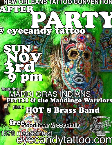 Etyecandy Tattoo New Orleans Mardi Gras Indians Hot 8