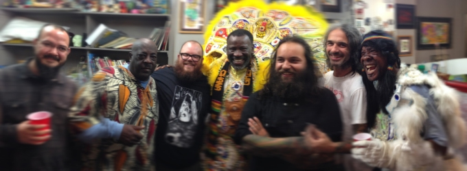 Eyecandy Tattoo crew with Mardi Gras Indians