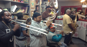 hot 8 brass band at eyecandy tattoo